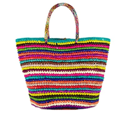 Maxi Patterned Toquila Straw Tote