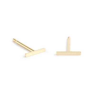 BRVTVS 14K Gold Small Bar Earrings