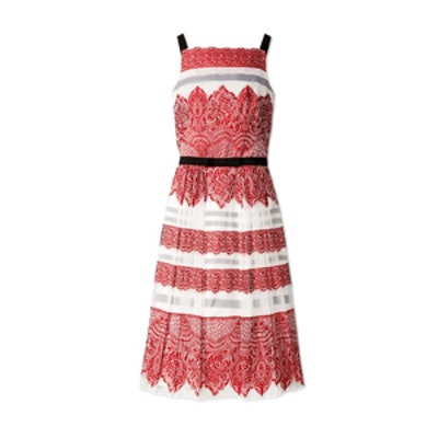 Lace Stripe Jacquard Cocktail Dress