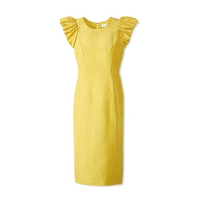 Silk Faille Ruched Sleeve Dress