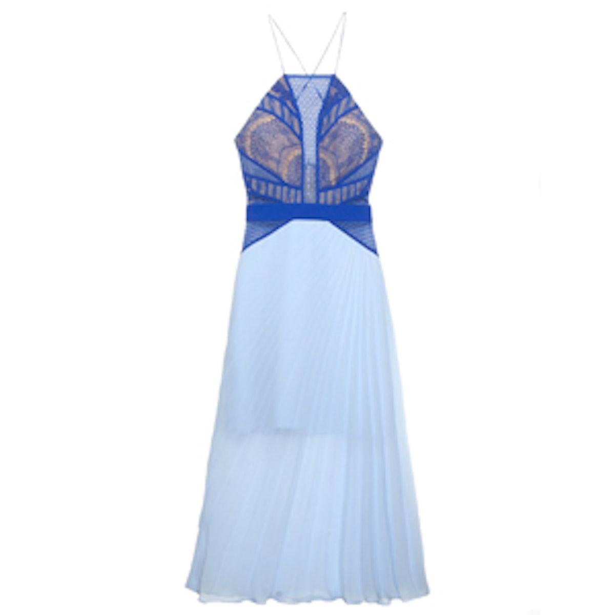 Blue Contrast Lace Dress