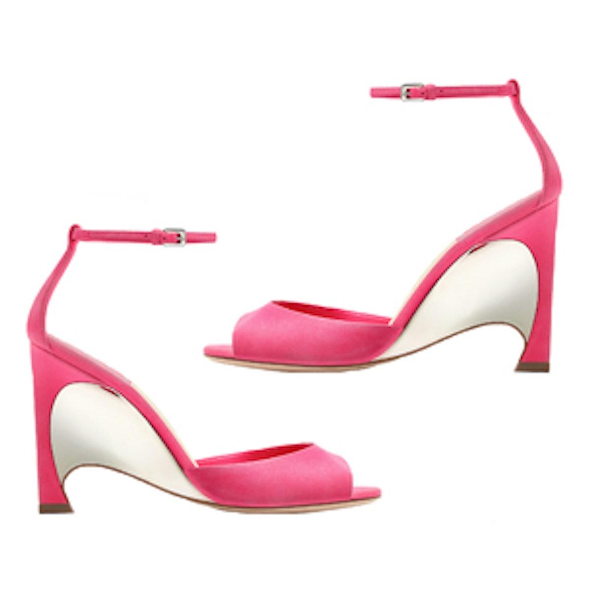 Fluorescent Pink Suede Calfskin Sandal
