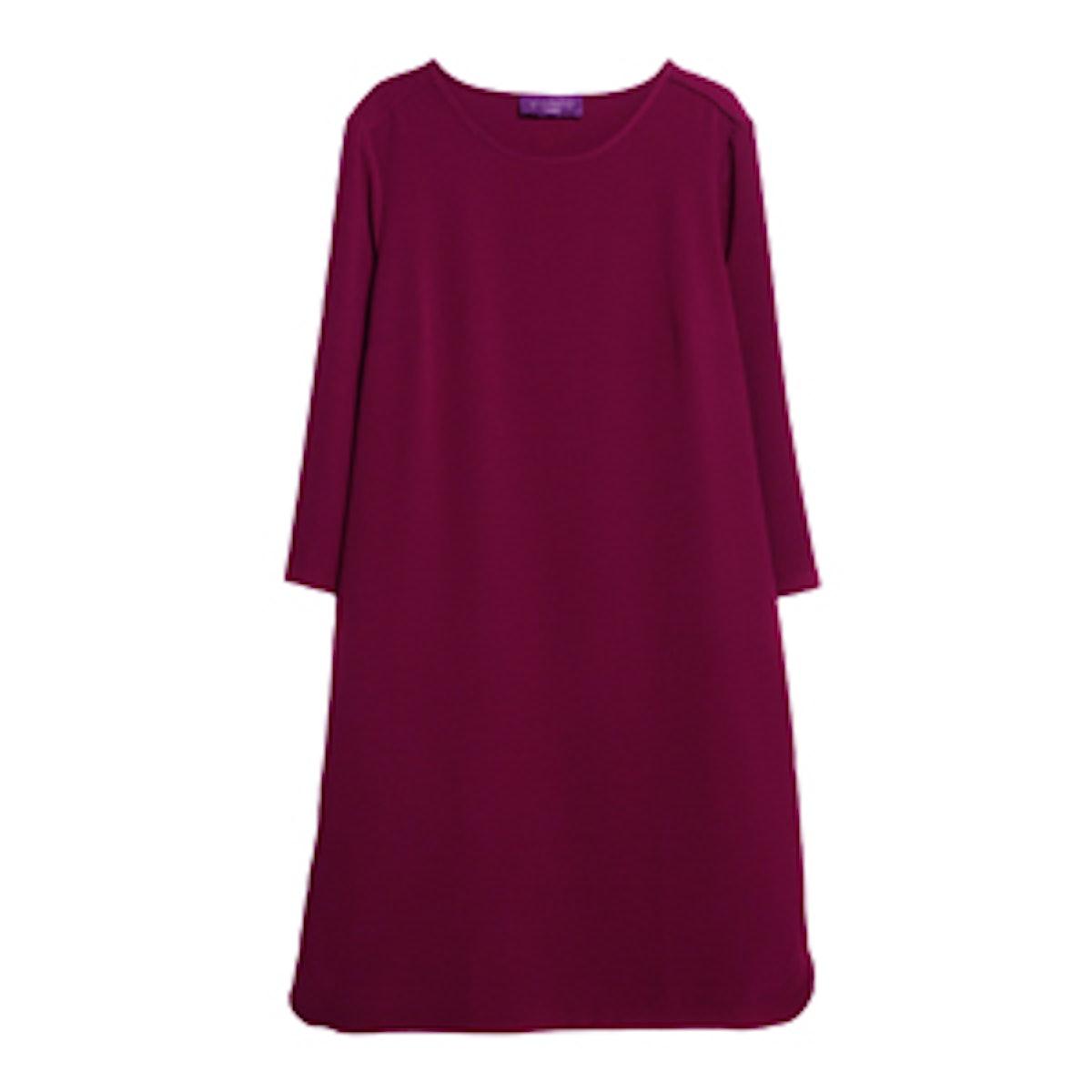Violeta Slit Shift Dress in Maroon