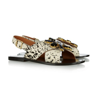 Crystal-Embellished Calf Hair Sandals