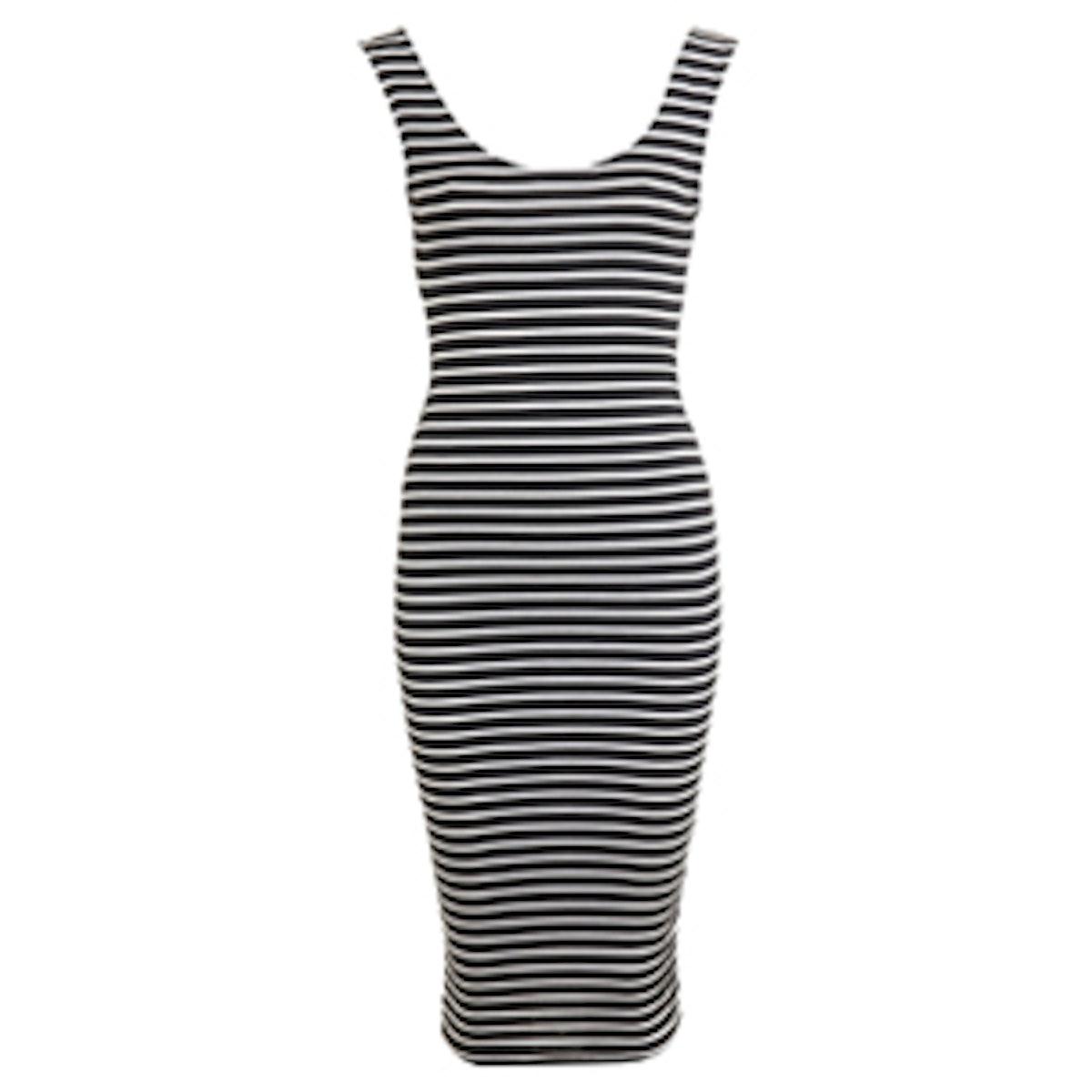 Stripe Twist Black Midi Dress