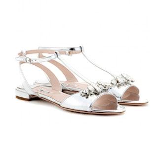 Crystal-Embellished Metallic-Leather Sandals