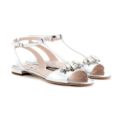 Crystal-Embellished Metallic-Leather Sandals