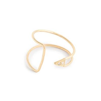 Mociun 14 K Curved Diamond Ring
