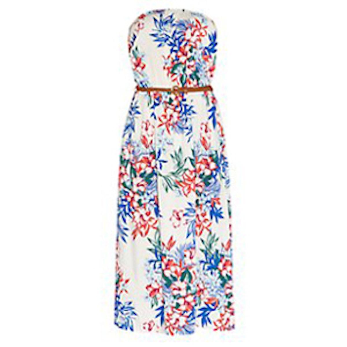 White Tropical Bandeau Dress