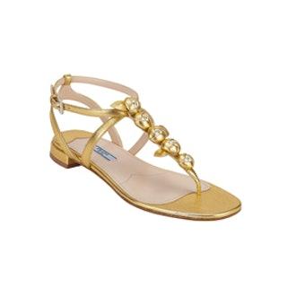 Rosette T-Strap Flat Sandals