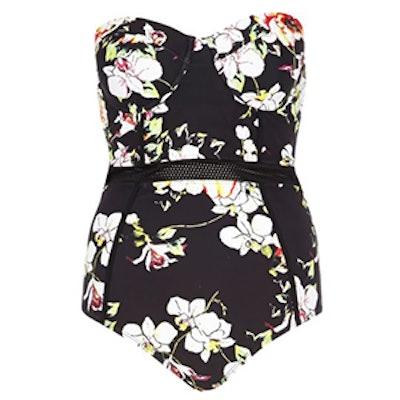 Black Floral Mesh Insert Swimsuit