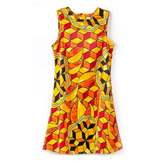 Floral Print Zippered Sleeveless Dress