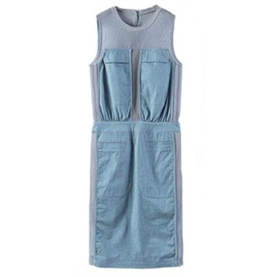 Sleeveless Mesh Denim Panel Dress