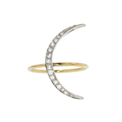 Small Crescent Moon Ring with Diamonds