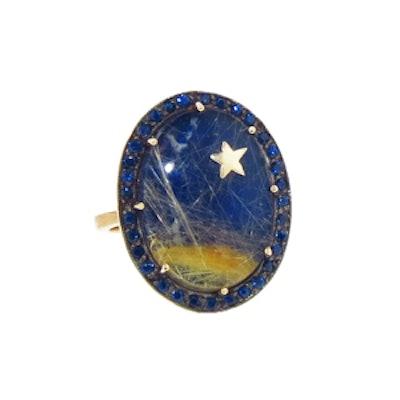 Oval Lapis & Quartz Ring with Blue Sapphires