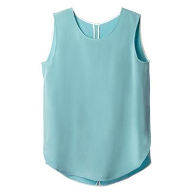 Silk Sleeveless Blouse in Turquoise