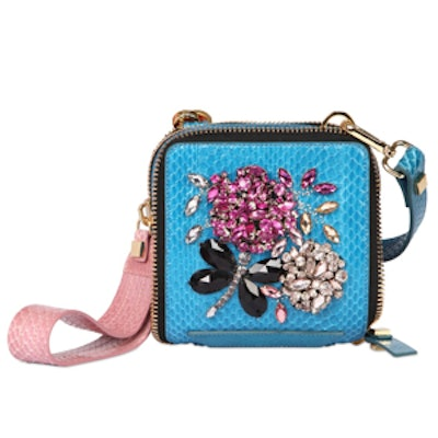 Embroidered Snakeskin and Leather Bag in Blue