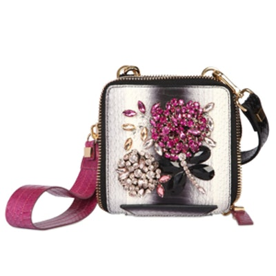 Embroidered Snakeskin and Leather Bag in Multi