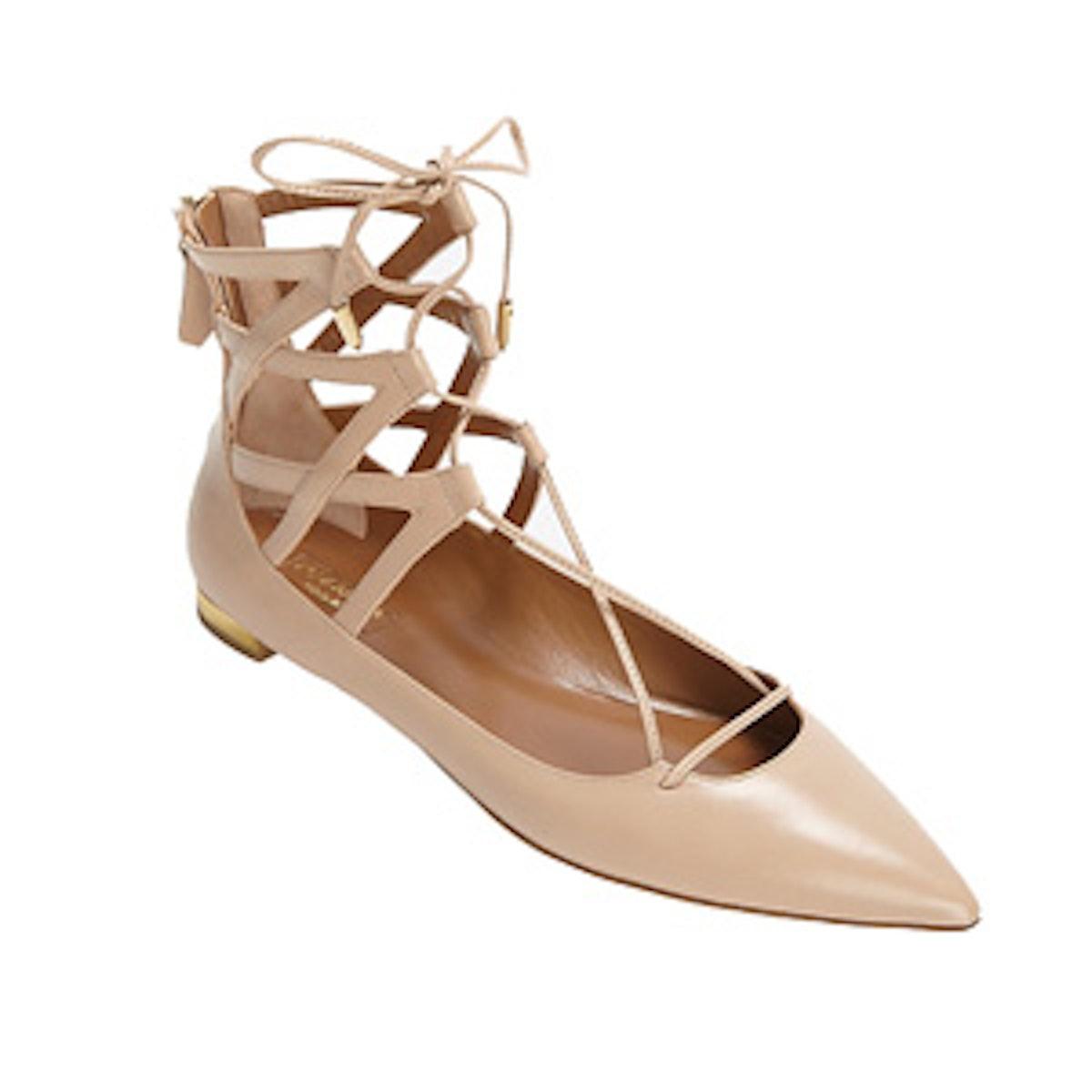 Lace-Up Ballerina Flats
