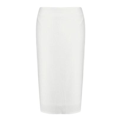 Alica White Crepe Midi Skirt