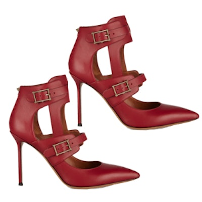 Hitch On Cutout Leather Pumps