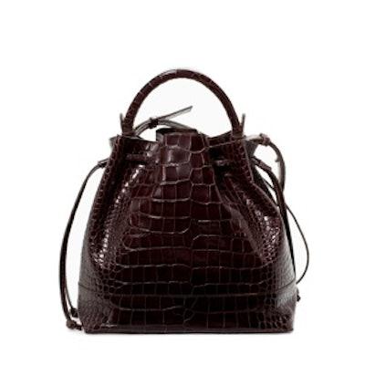 Croc Leather Bucket Bag