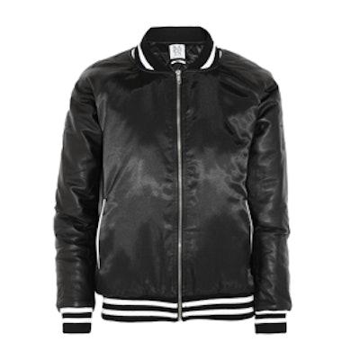 Leather Paneled Satin Bomber