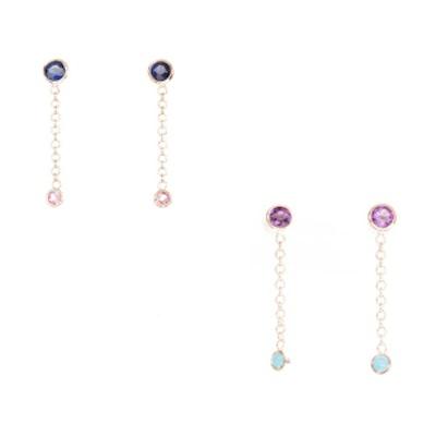 Birthstone Chain Drop Earrings