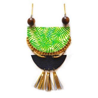 Palm Tree Wood and Brass Geometric Crescent Necklace