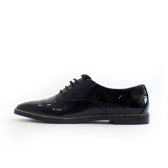 Patent Brogues With Gold Zippers