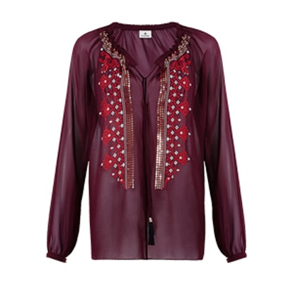 Embroidered Blouse in Red