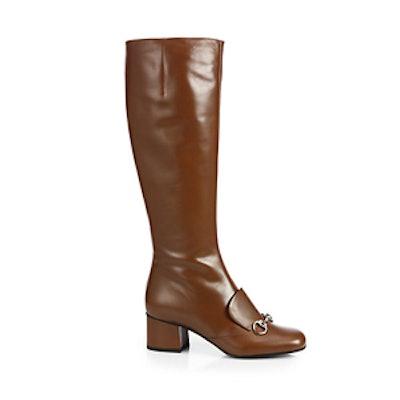 Leather Horsebit Knee Boot in Nut Brown