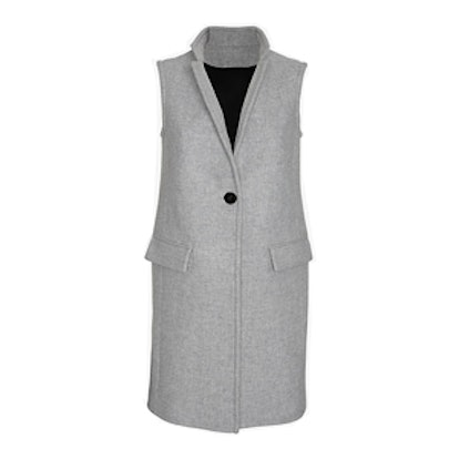 Long Tailored Vest in Gray