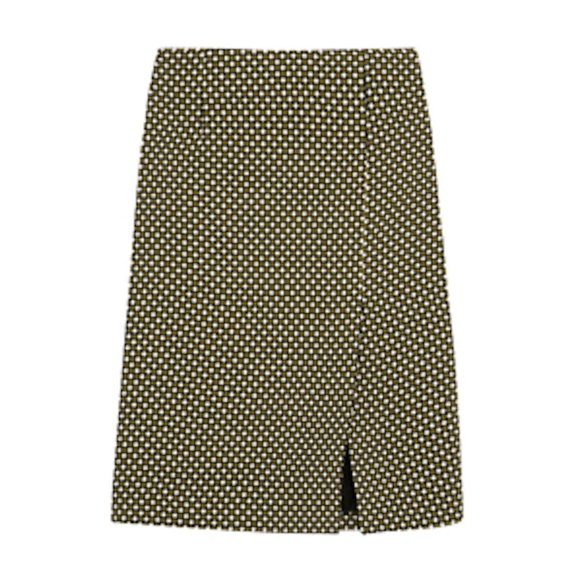 Printed Silk and Wool Pencil Skirt
