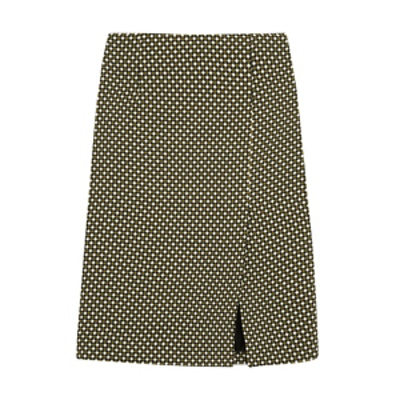 Printed Silk and Wool Pencil Skirt