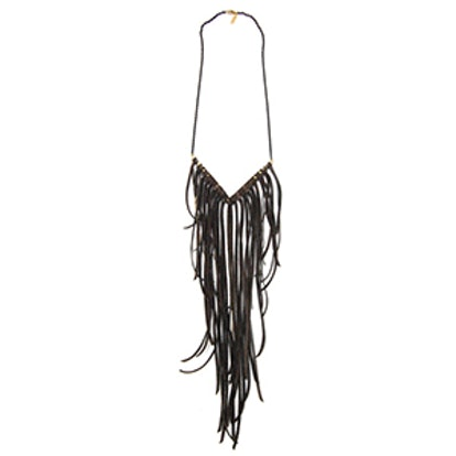 Brass Quill V Leather Fringe Necklace