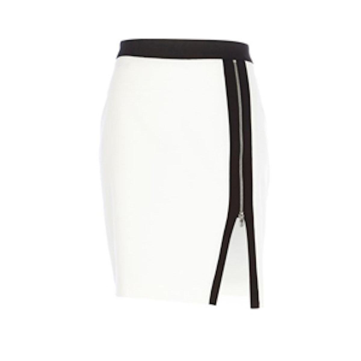 White Zip Pencil Skirt