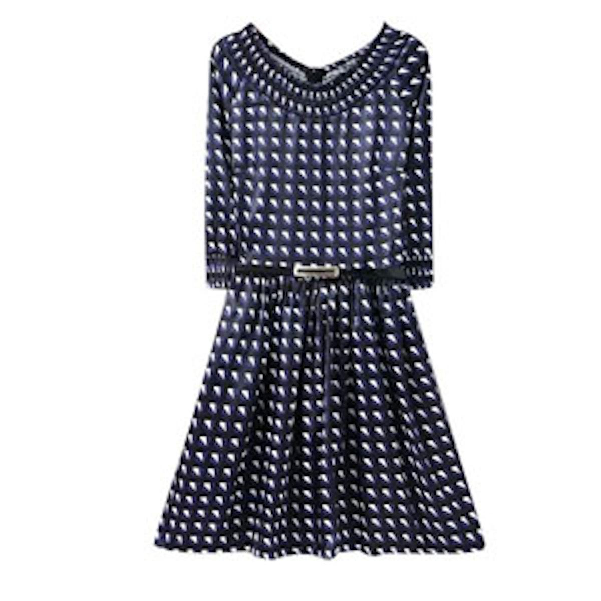 Blue Boat Neck Dress