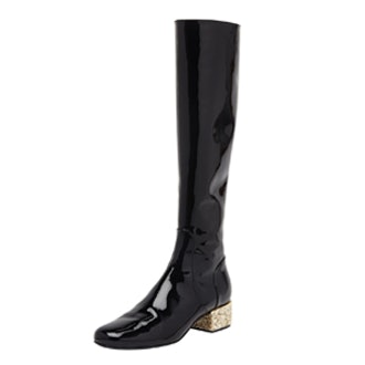 Glitter-Heel Patent Boot