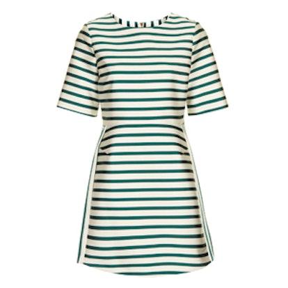 Satin Stripe A Line Dress