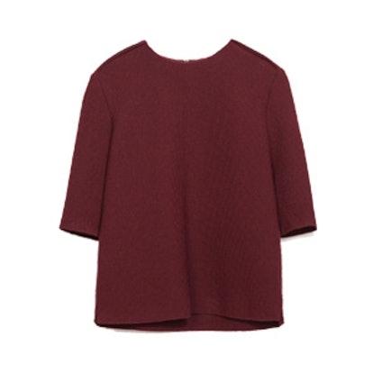 Structured Top In Maroon