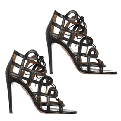 Olivia Palermo Cutout Leather Sandals