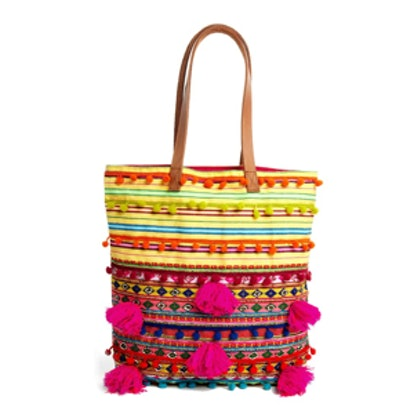 Woven Shopper Bag with Beads and Pom Poms