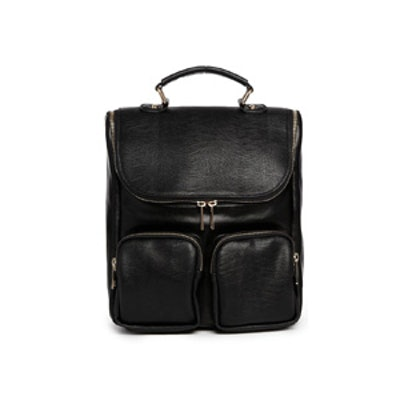 Contrast Leather Backpack
