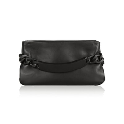 Chain-Embellished Leather Clutch