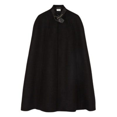 Leather-Trimmed Cape