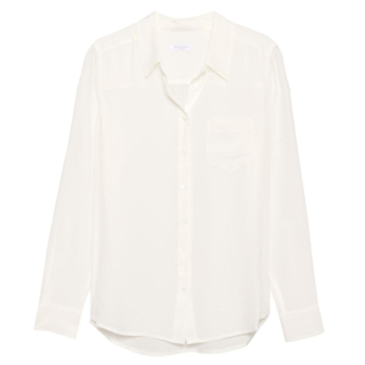 Brett Silk Shirt in Nature White