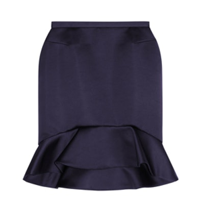 Ruffled Satin Mini Skirt