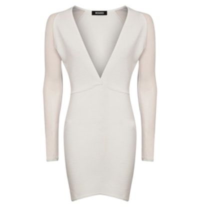 Mesh Sleeve Ribbed Dress