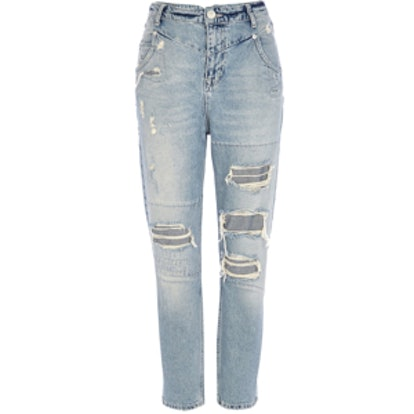Light Wash Ripped Slim Mom Jeans